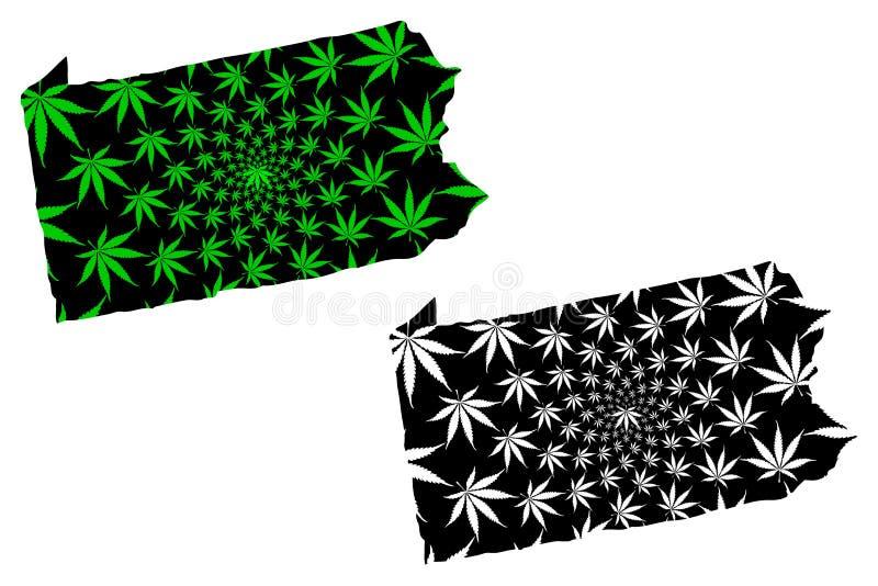 Brittiska samväldet av Pennsylvania - översikten är det planlagda cannabisbladet stock illustrationer