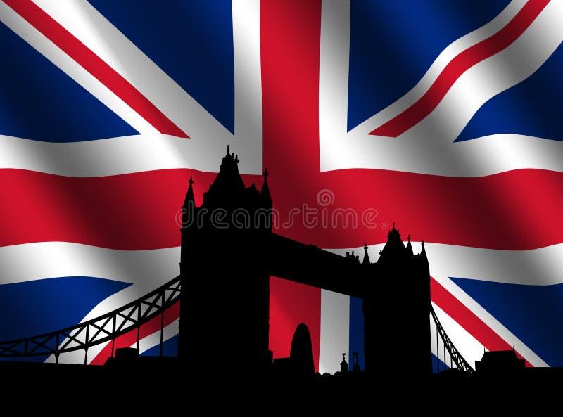 brittiskt flaggatorn för bro royaltyfri illustrationer