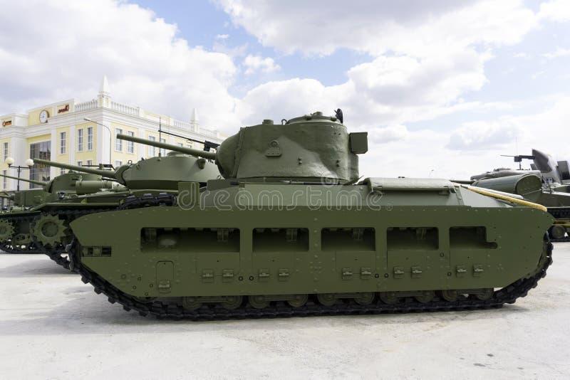 Brittiskt infanteri tankar fläcken IIA Matilda i museet av militär utrustning arkivfoton