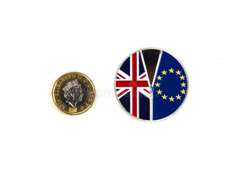 Brittiskt pund och Brexit mynt royaltyfri bild