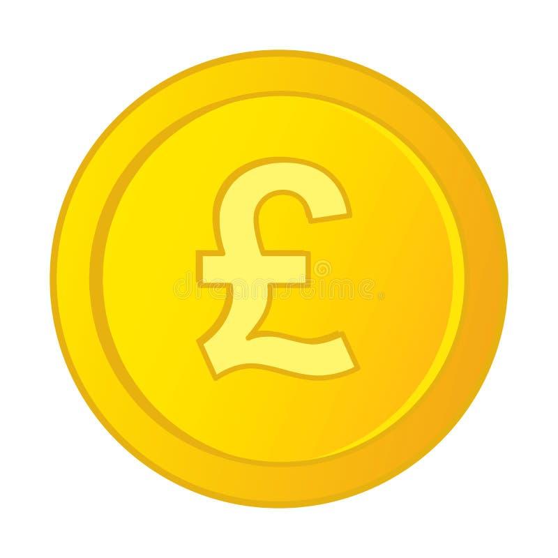 Brittiskt pund Sterling Symbol för vektor på guld- mynt royaltyfri illustrationer