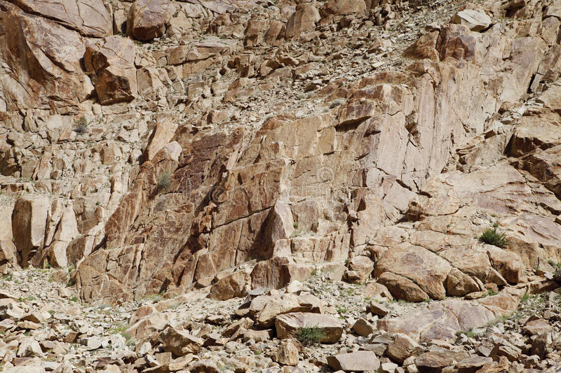 Brittle and fractured Granite rocks in ladakh. Beautiful exposure of rock structure formed in the mountains of Ladakh royalty free stock photography