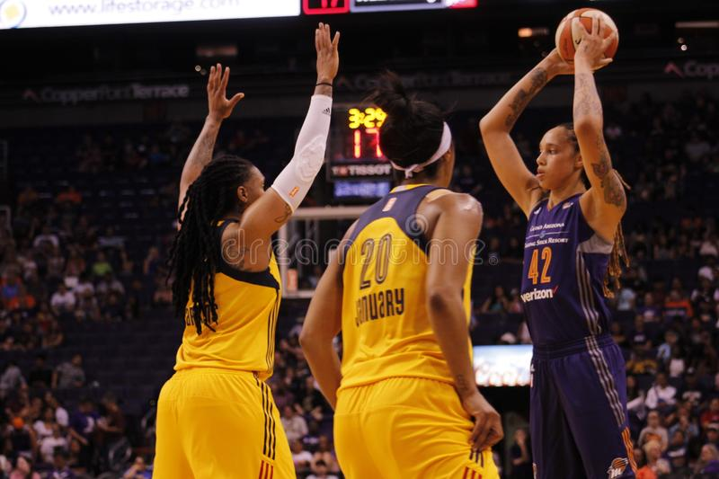 Brittney Griner. Center for Phoenix Mercury at Talking Stick Resort Arena in Phoenix Arizona USA May 19, 2017 royalty free stock images