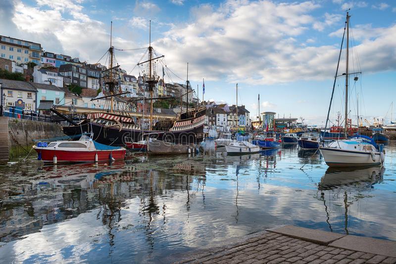 Brixham in Devon. Boats in the harbour at Brixham an historic fishing port in Torbay on the south coast of Devon stock images