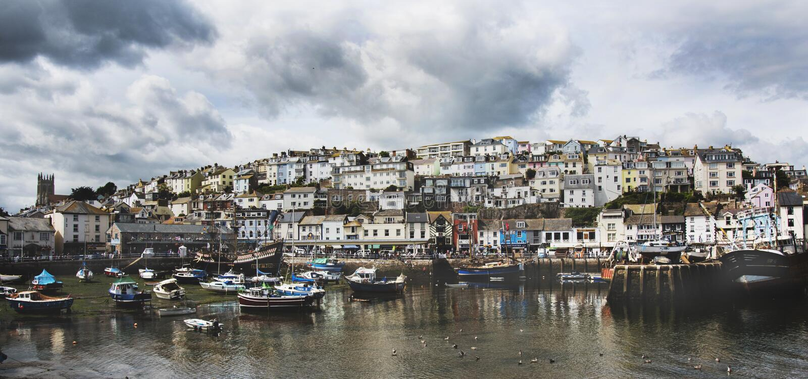 Brixham, Devon. Brixham, from the east of the harbour royalty free stock photos
