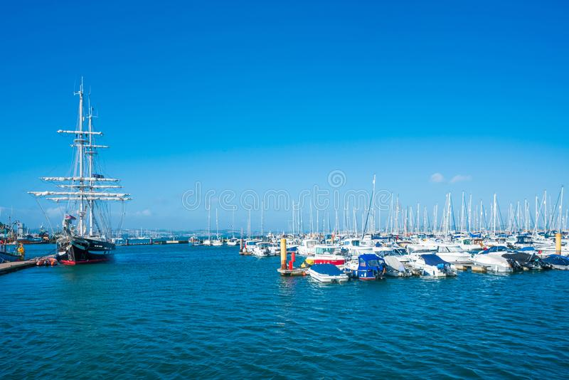 View of Brixham marina. BRIXHAM, DEVON, UK - OCTOBER 16,2017: Brixham Harbour is located on the southern side of Tor Bay, it boasts one of the largest fishing stock photo