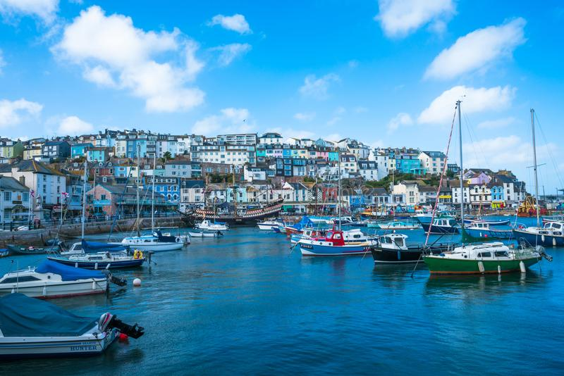View of Brixham marina. BRIXHAM, DEVON, UK - OCTOBER 16,2017: Brixham Harbour is located on the southern side of Tor Bay, it boasts one of the largest fishing royalty free stock photography