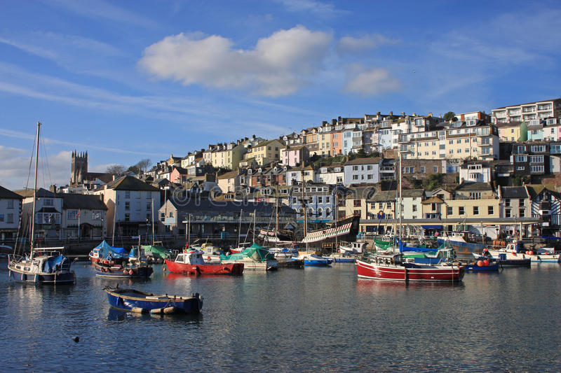 Brixham harbour. Fishing boats in Brixham harbour stock photography