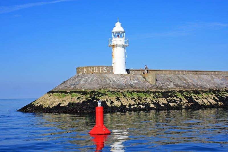 Brixham Lighthouse. Lighthouse on Brixham Breakwater, Torbay stock photo