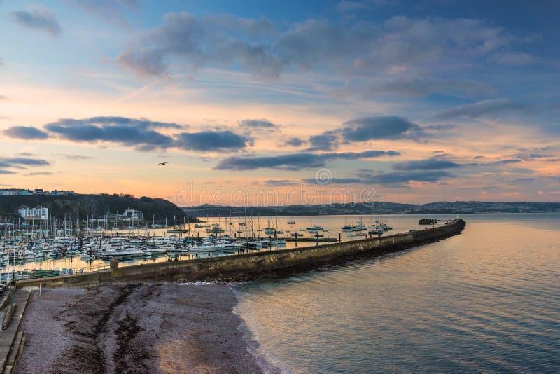 Brixham Marina in South Devon. Looking across the breakwater of Brixham in Devon royalty free stock images