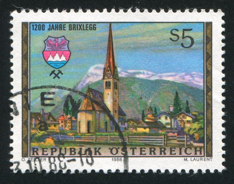 Brixlegg. AUSTRIA - CIRCA 1988: stamp printed by Austria, shows Brixlegg, church, circa 1988 stock photos