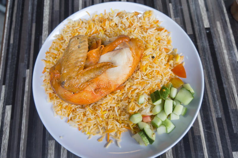 Briyani Chicken. Delicious Arabian food, Briyani chicken royalty free stock photo