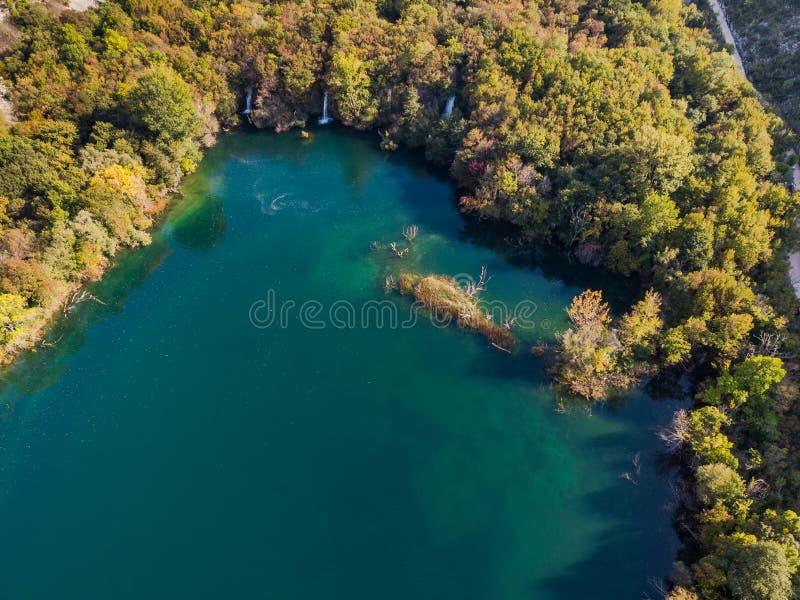 Brljan waterfalls in Krka National Park,Croatia.Aerial view royalty free stock images