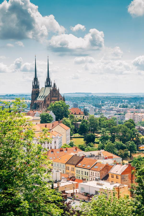 Brno city panorama view from Spilberk Castle in Brno, Czech Republic stock photography