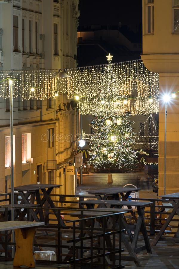 Brno, Czech Rebublic - December 22 2017: The christmas market wi. Th decorated street royalty free stock image