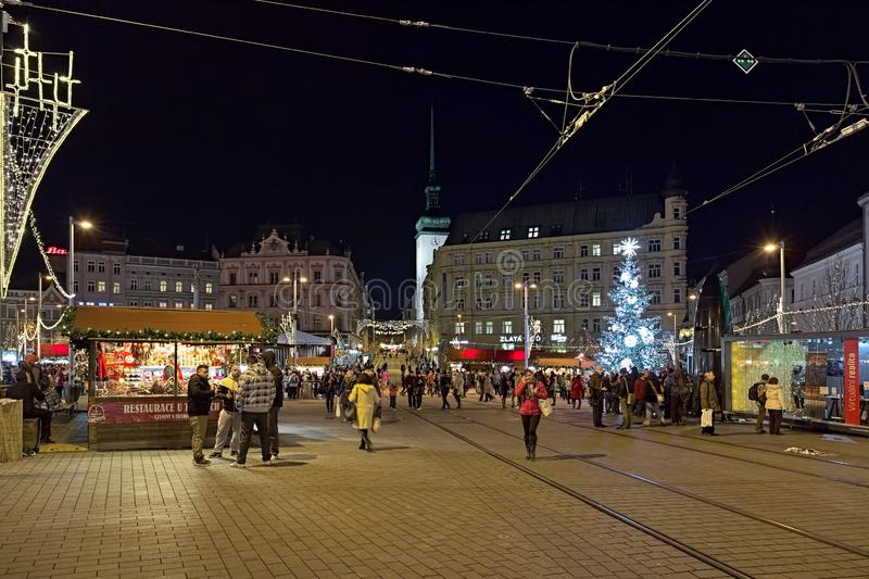 Christmas market on Freedom Square in Brno, Czech Republic. Brno, Czech Republic. Christmas market on Freedom Square with Brno`s main Christmas tree. On the stock photo
