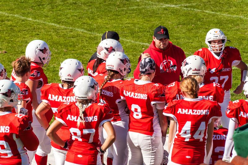 Brno, Czech Republic - September 21, 2019. Match between female teams Brno Amazons and Prague Harpies in American football. The royalty free stock image