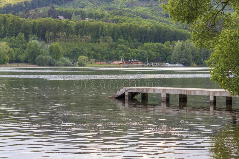 Brno Dam in Czech Republic - Europe. You can see the concrete pier into the water royalty free stock photo