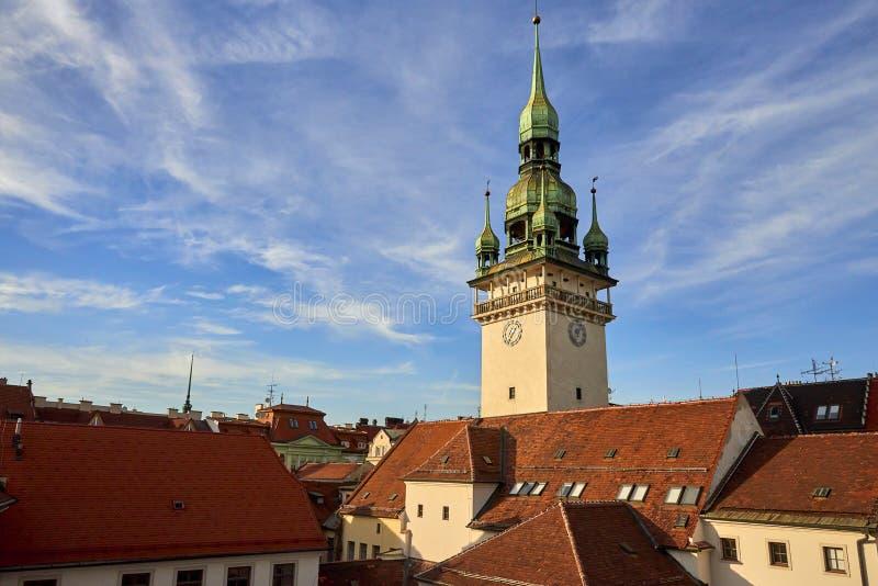 Brno horizonnadruk op Oud Stadhuis stock fotografie