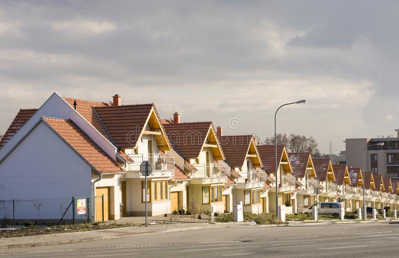 Brno Leskava Czech Rep 4th January 2015 Identical row houses. Mass production in the building industry royalty free stock photos