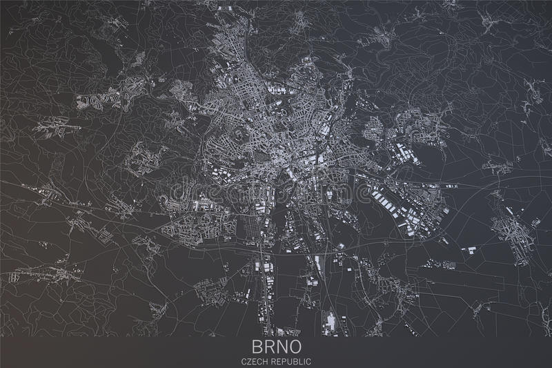 Brno Map Satellite View Czech Republic Stock Illustration