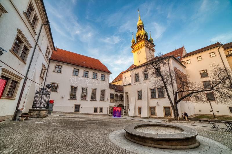 Brno Old Town Hall with a Small Square and Old Tower at Sunset, Czech Republic royalty free stock image