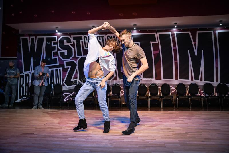 Brno, República Checa - 3 de febrero de 2018: Demostración brasileña de la danza de los bailarines talentosos fotos de archivo libres de regalías