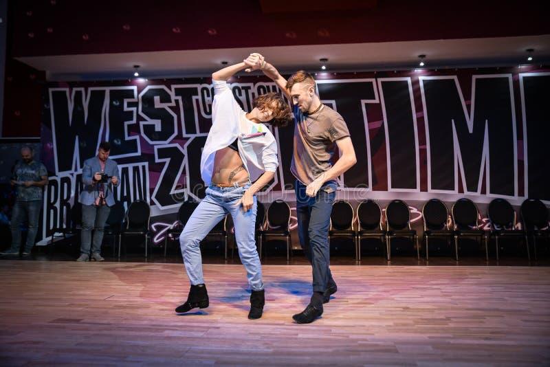 Brno, República Checa - 3 de fevereiro de 2018: Mostra brasileira da dança por dançarinos talentosos fotos de stock royalty free