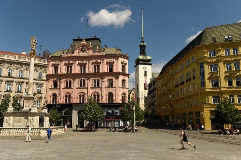 Brno, Tsjechische Republiek - 01 Juni, 2017: Liberty Square in Brno, CZ stock fotografie