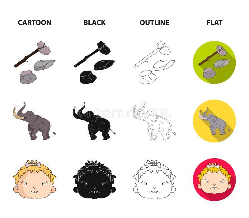 Broń, młot, słoń, mamut Er kamienia łupanego ustalone inkasowe ikony w kreskówce, czerń, kontur, mieszkanie stylowy wektorowy sym ilustracja wektor