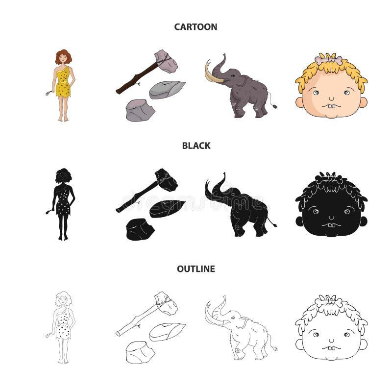 Broń, młot, słoń, mamut Er kamienia łupanego ustalone inkasowe ikony w kreskówce, czerń, konturu symbolu stylowy wektorowy zapas royalty ilustracja