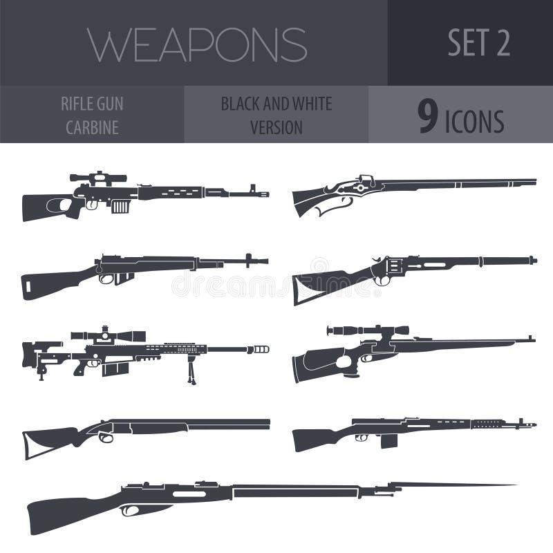 Broń palna set Pistolet, karabin, karabinka wektoru ilustracja ilustracji