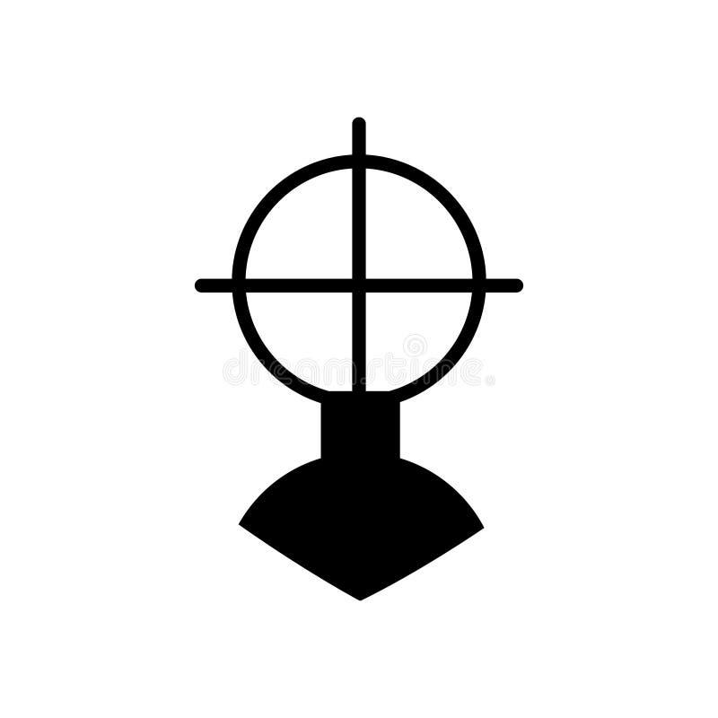 Broń widok Celuje ikonę, wypełniający mieszkanie znak, stały piktogram odizolowywający Dla celu, symbolu projekta loga ilustracja ilustracja wektor