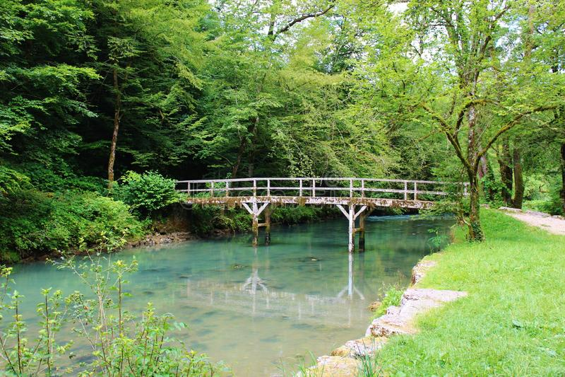 Bro över en flod i Juraen, Frankrike royaltyfria bilder