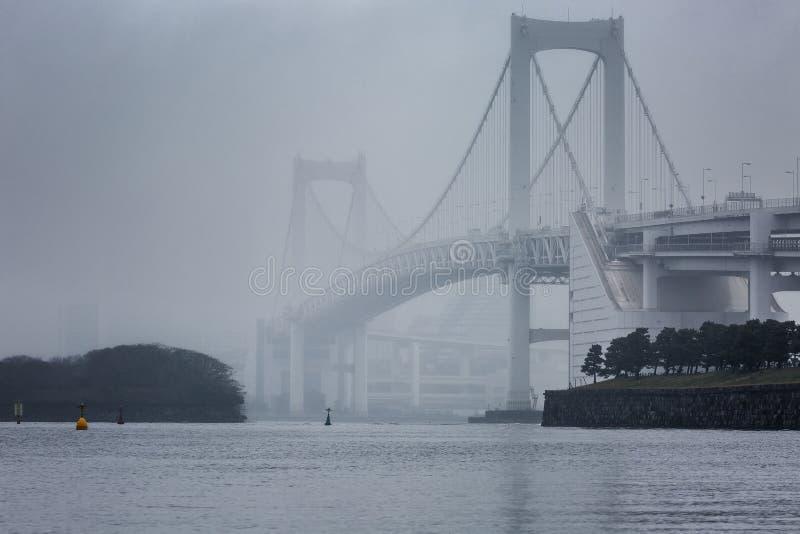 Bro över floden i dimman, härligt kust- landskap arkivfoto