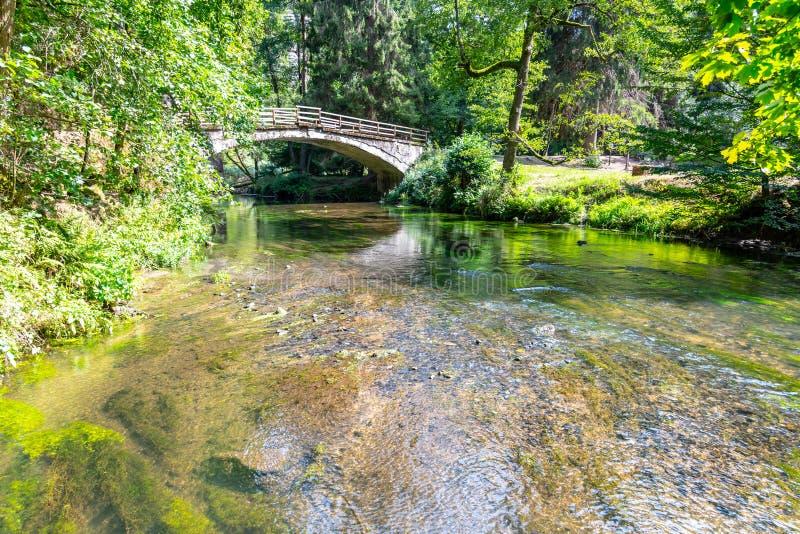Bro över floden Kamenice i den bohemSchweiz nationalparken, Tjeckien arkivbild