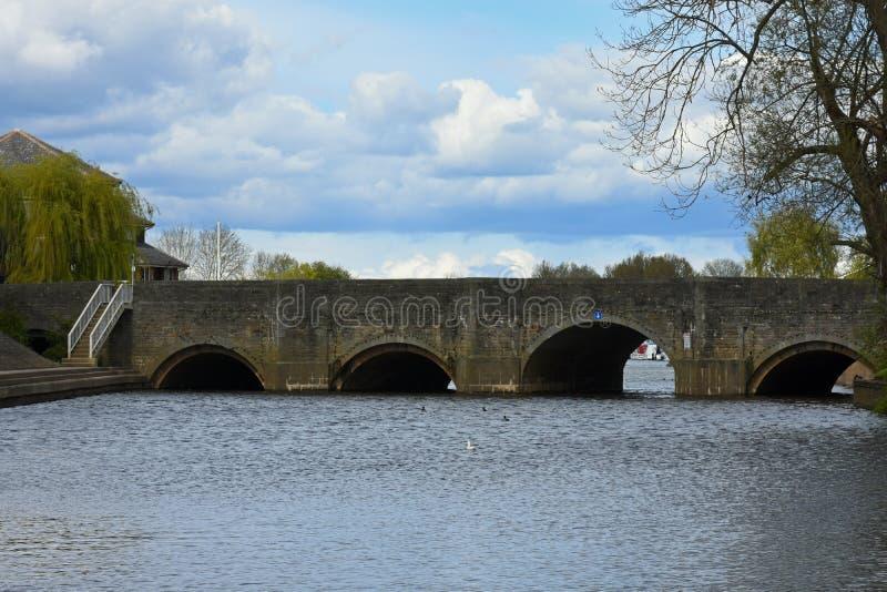 Bro över floden Severn, Tewkesbury, Gloucestershire, UK arkivfoto