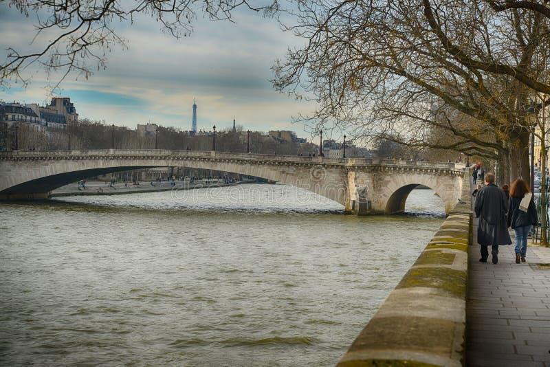 Bro över Seine, Paris arkivbild