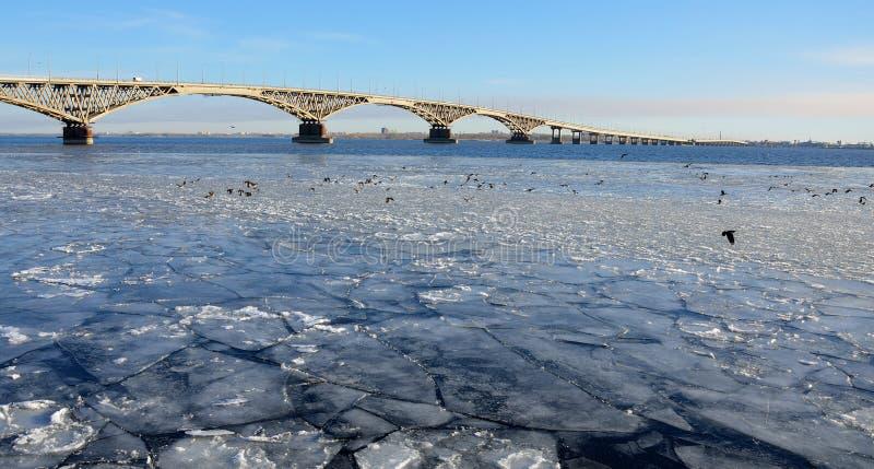 Bro över Volgaet River som täckas med is från Saratov till Engels royaltyfri foto