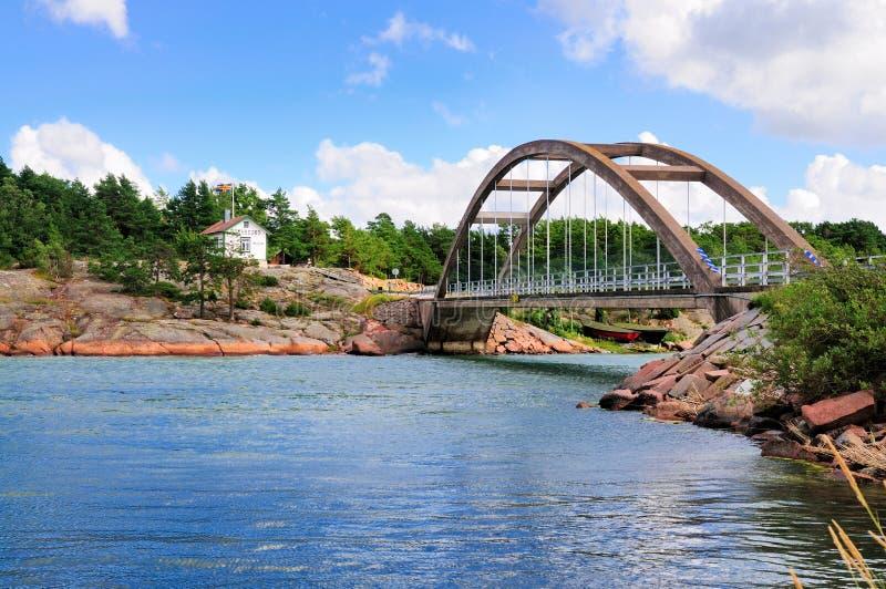 Bro av Bomarsund, Aland, Finland arkivbilder