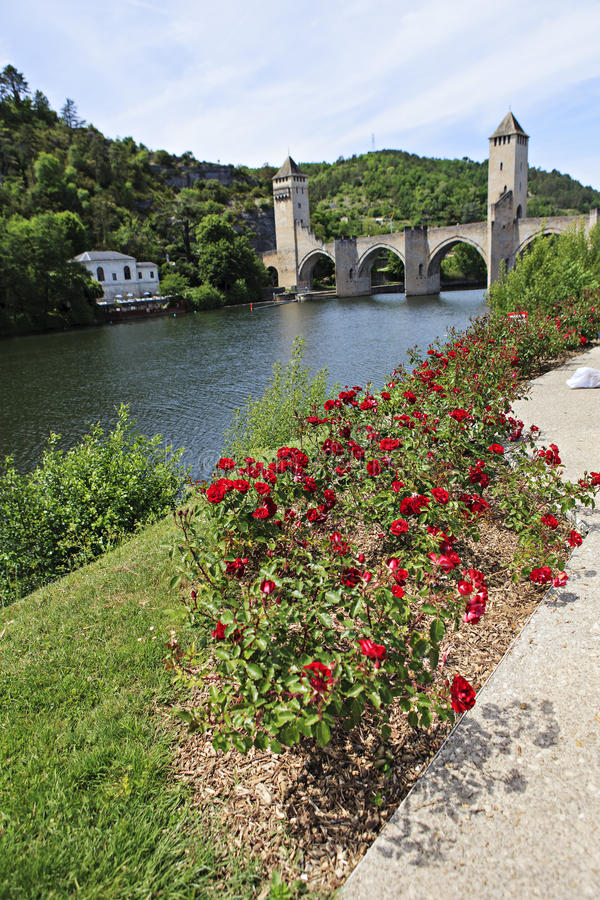 Bro av Cahors arkivbild