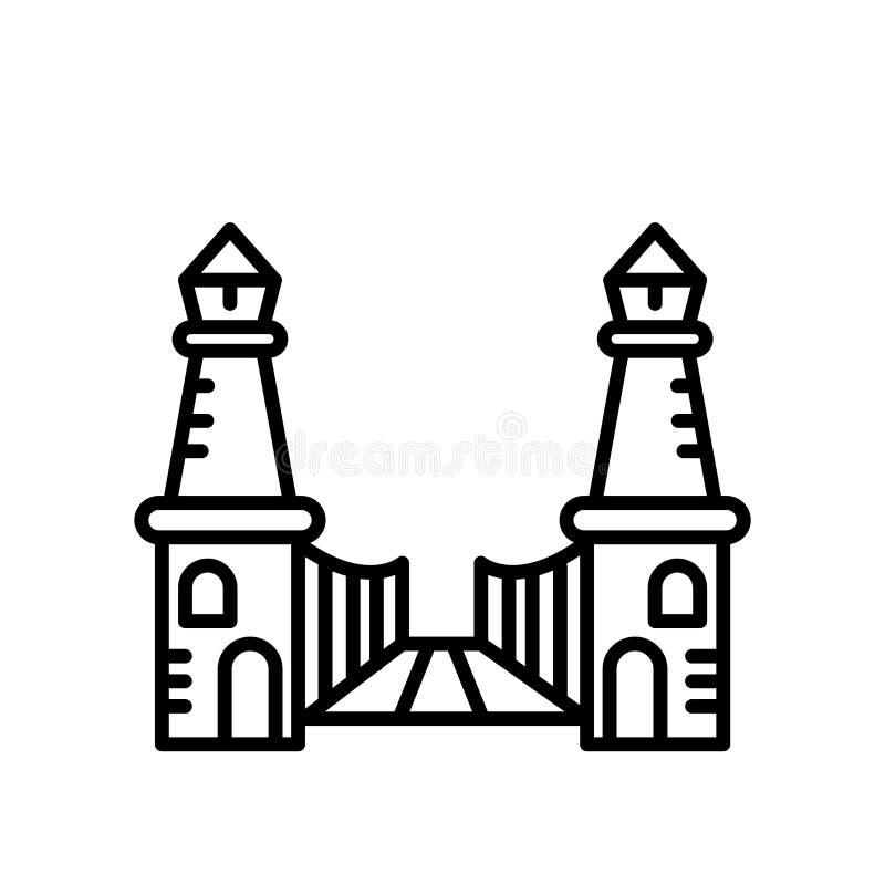 Bro av den västra symbolsvektorn som in isoleras på vit bakgrund, bro av det västra tecknet, linje eller linjärt tecken, bestånds stock illustrationer