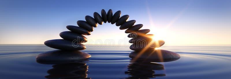 Bro av kiselstenar i havet på soluppgångsolnedgången royaltyfri illustrationer