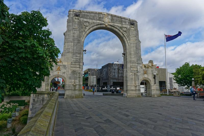 Bro av minnet, Christchurch, Nya Zeeland arkivfoton