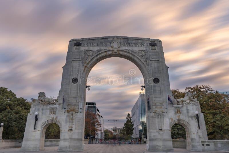 Bro av minnet i den molniga dagen, Christchurch, Nya Zeeland royaltyfria bilder