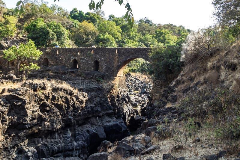 Bro av portugisen på flodblåttNilen ethiopia royaltyfri fotografi