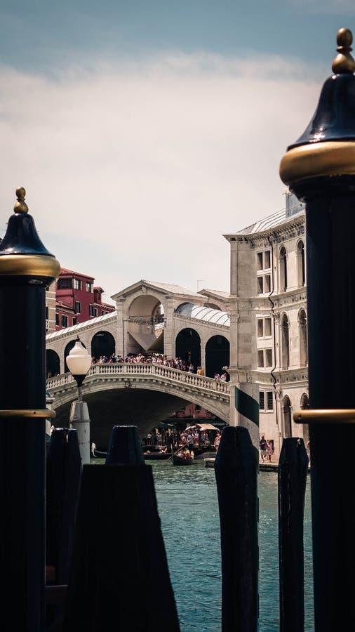 Bro av rialtoen som inramas av poler fotografering för bildbyråer