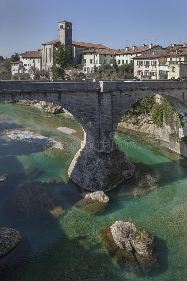 Bro för jäkel` s i Cividale royaltyfri fotografi