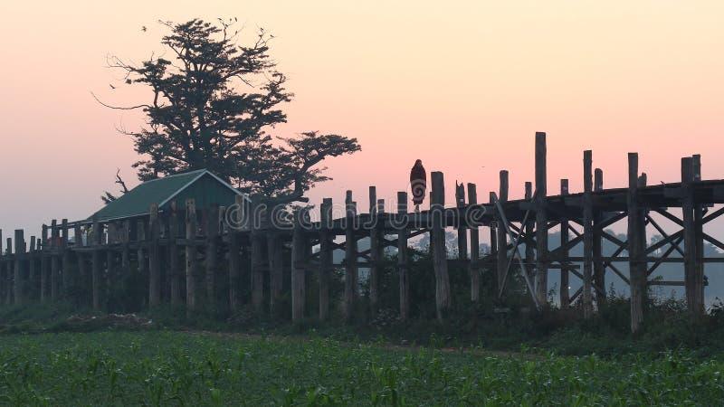 Bro för U Bein av Mandalay, Myanmar royaltyfri bild