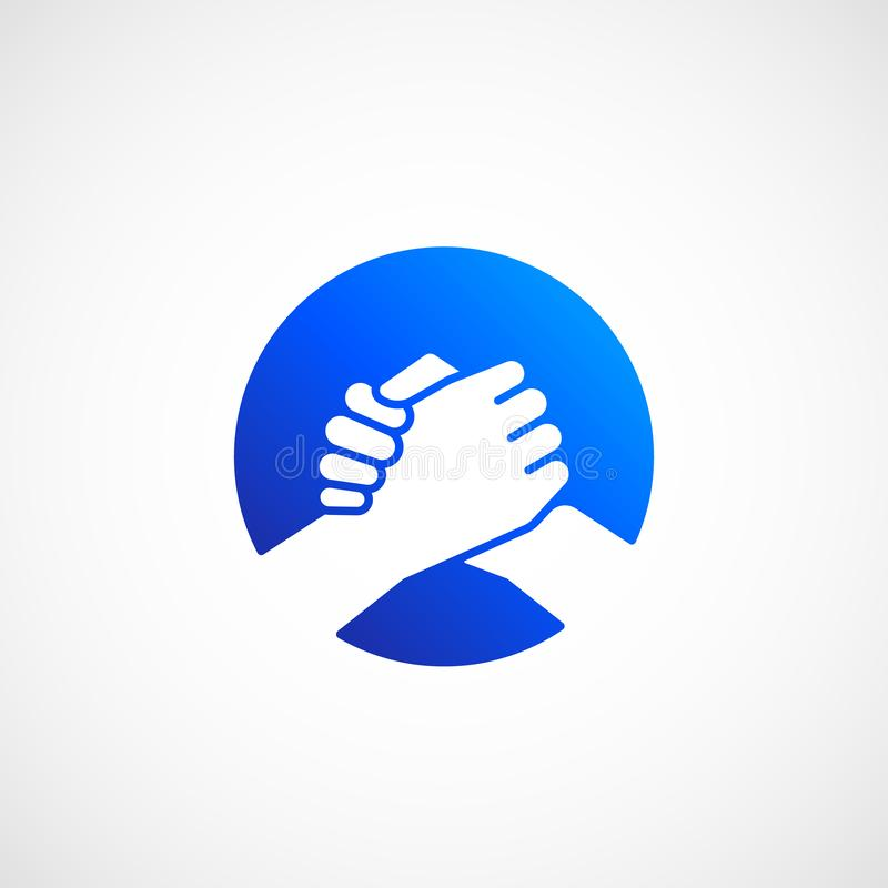 Bro Handshake Abstract Vector Sign, Symbol or Icon. Friends, Partners or Brothers Hand Shake Incorporated in a Circle royalty free illustration